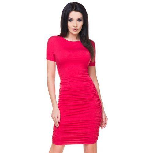 Tessita Czerwona sukienka bodycon drapowana na bokach
