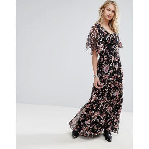 Mango Floral Print Maxi Dress - Black