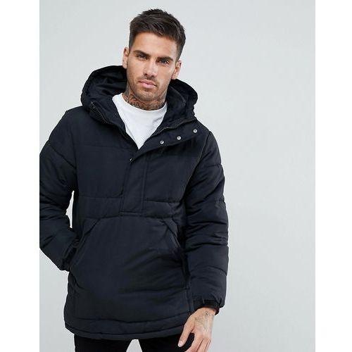 Pull&bear half zip padded jacket with hood in black - black