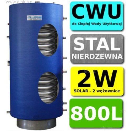 CHEŁCHOWSKI 800L 2-wężownice Nierdzewka Solar, 2W Zbiornik Zasobnik Wymiennik Bojler, Nierdzewna Stal, Wysyłka GRATIS