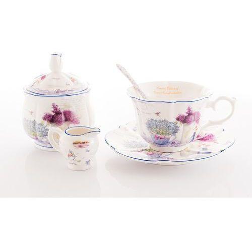Filiżanki cukiernica mlecznik komplet lavender marki Queen isabell