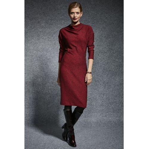 Dzianinowa sukienka w melanżu - Ennywear, kolor czerwony