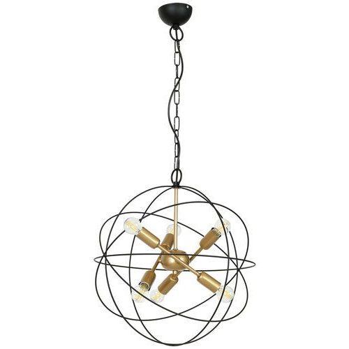 Luminex Copernicus 1099 lampa wisząca zwis 6x60W E14 czarny / złoty, kolor Czarny