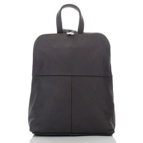Damski plecaczek skórzany na wycieczkę ciemny brąz - brązowy marki Abruzzo