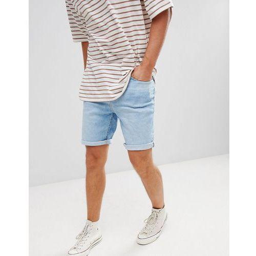 skinny fit denim shorts in light blue - blue marki Pull&bear
