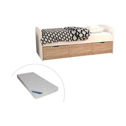 Łóżko LOUANE z 2 szufladami i 1 pojemnikiem na pościel – 90 × 190 cm – kolor biało-dębowy – materac w zestawie