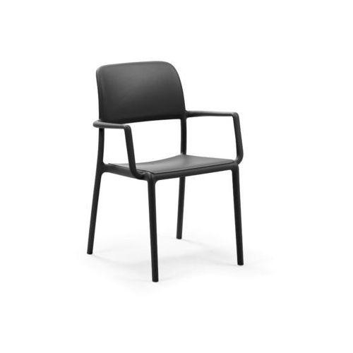 Krzesło Riva z podłokietnikami czarne, kolor czarny