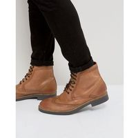 Frank Wright Milled Brogue Boots Tan Leather - Tan
