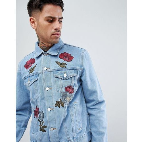 denim jacket with floral embroidery in light wash - blue marki Boohooman