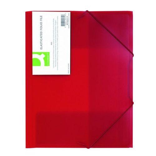 Teczka z gumką , pp, a4, 400mikr., 3-skrz., transparentna czerwona marki Q-connect