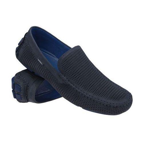 Mokasyny BADURA 3081-925 Granatowe męskie wsuwane - Granatowy ||Niebieski, kolor niebieski