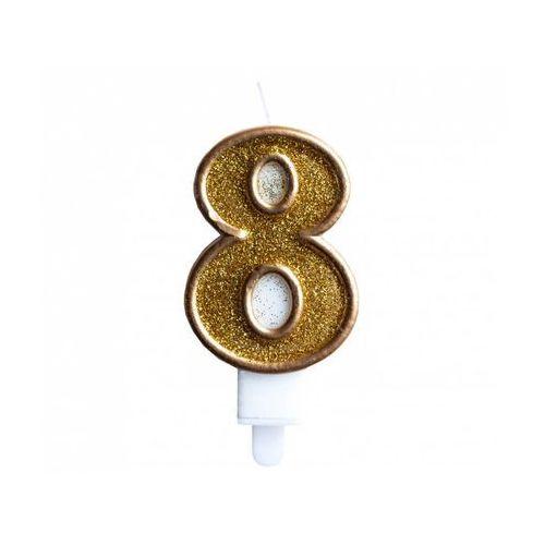"""Świeczka złoty brokat cyferka """"8"""""""