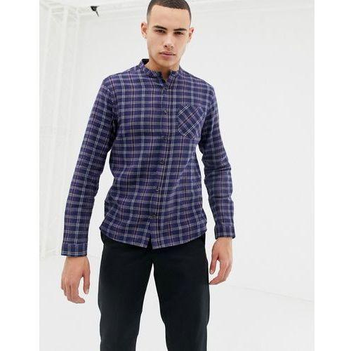 long sleeve grandad tartan flannel shirt - red, D-struct, S-XL