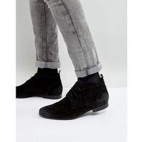 River Island Suede Chukka Boots In Black - Black, kolor czarny
