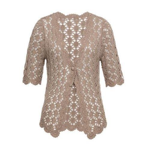 Sweter rozpinany szydełkowy bonprix brunatny