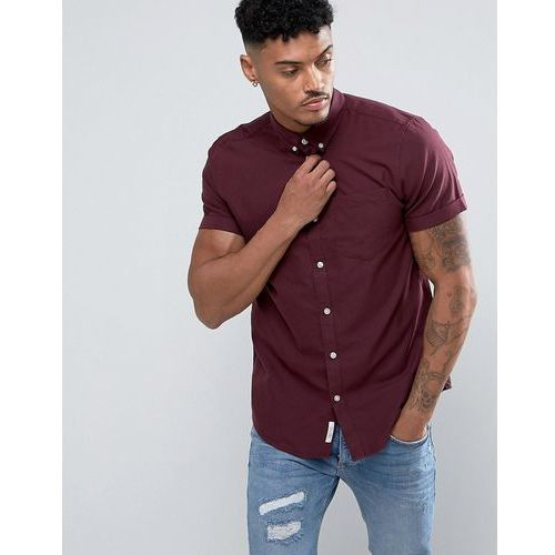 River island  regular fit oxford shirt with short sleeves in burgundy - red