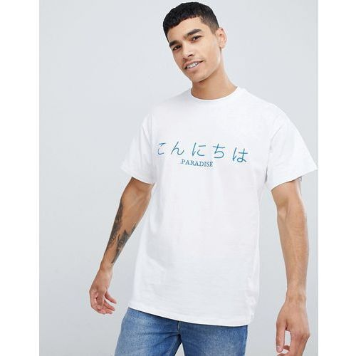New Look t-shirt with paradise embroidery in white - White, kolor biały