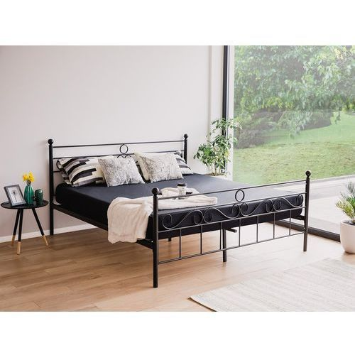 Łóżko czarne - 180x200 cm - metalowe - ze stelażem - podwójne - LEPUS