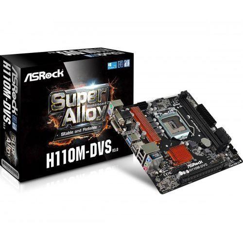 Płyta główna ASRock H110M DVS R3.0, H110, DDR4, SATA3, DVI-D, microATX (90-MXB4A0-A0UAYZ) Szybka dostawa! Darmowy odbiór w 20 miastach!