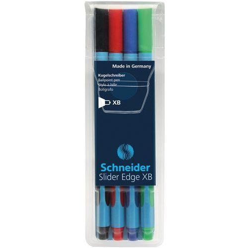 Schneider Zestaw długopisów w etui slider edge, xb, 4 szt., miks kolorów (4004675076182)