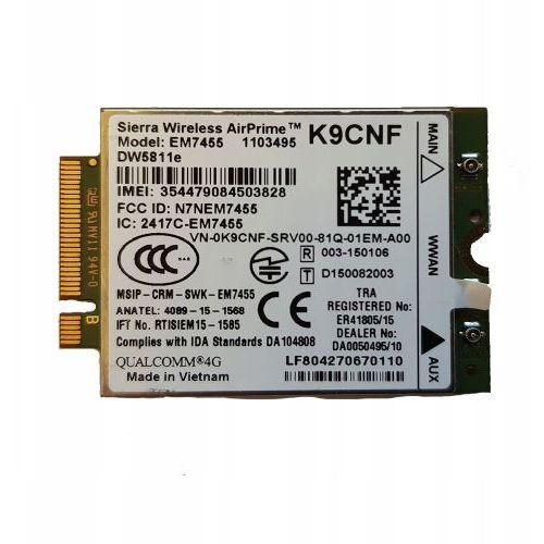 Nowy modem wwan dw5811e lte 4g em7455 marki Dell