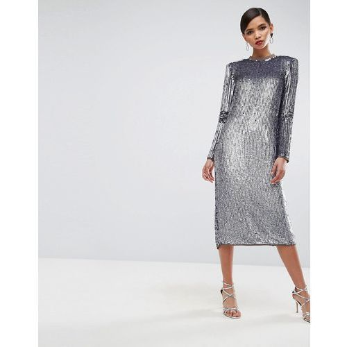 red carpet iridescent sequin shoulder pad midi dress - purple, Asos