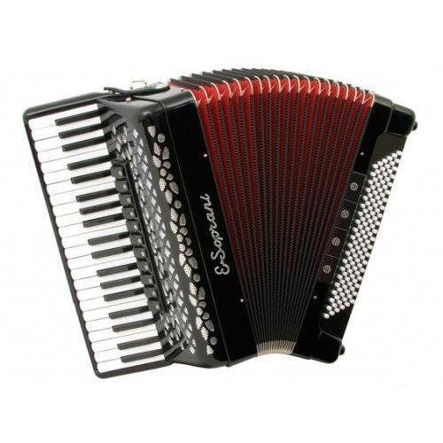 124 kc 41/4/11+m 120/5/4 musette akordeon (czarny, czerwony miech) marki E.soprani