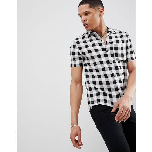 slim short sleeve revere collar shirt in gingham check - multi marki Religion