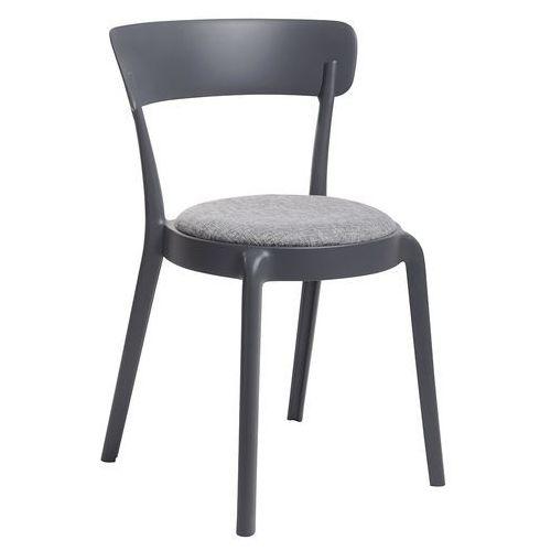 Krzesło FLUFFI czarne z szarą poduszką - polipropylen, 304-ACV.BLACK (9455998)