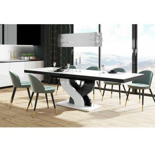 Hubertus Stół rozkładany bella 160-256 biało-czarny mix połysk