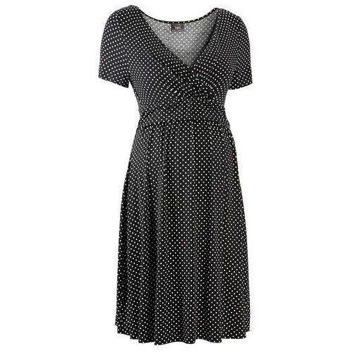 Bonprix Sukienka ciążowa i do karmienia, z dżerseju, krótki rękaw  czarno-biały w kropki
