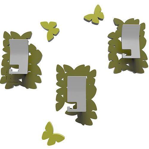 Wieszaki ścienne dekoracyjne butterflies oliwkowo-zielone (50-13-4-54) marki Calleadesign