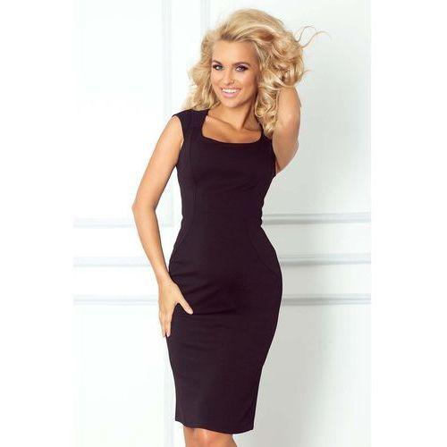Czarna Ołówkowa Sukienka z Mini Rękawkiem, kolor czarny