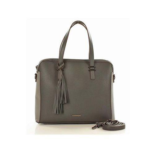 Szara elegancka torba aktówka z dekoracyjnym chwostem marki Verostilo