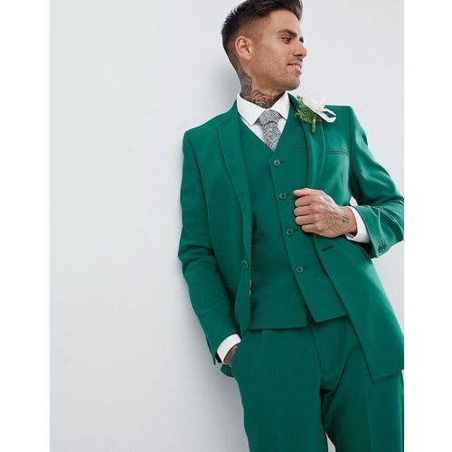 ASOS DESIGN Wedding Skinny Suit Jacket With Square Hem In Forest Green - Green