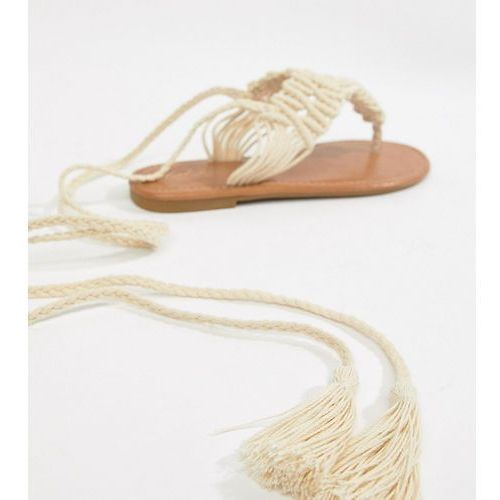 Parklane wide fit crochet tie leg sandals - cream, Park lane