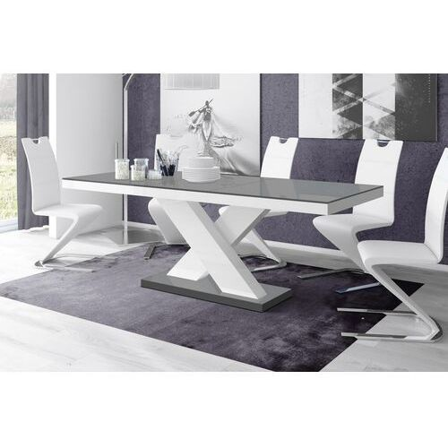 Stół rozkładany XENON 160-208 Szaro-biały połysk, HS-0072