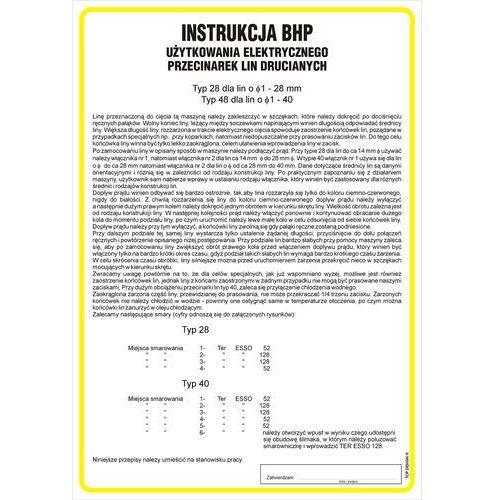 Instrukcja BHP użytkowania elektrycznego przecinarek lin drucianych. Najniższe ceny, najlepsze promocje w sklepach, opinie.