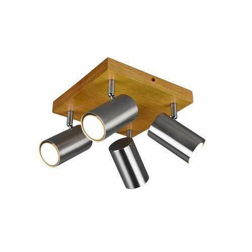Trio marley 812400407 plafon lampa sufitowa 4x35w gu10 nikiel/drewno