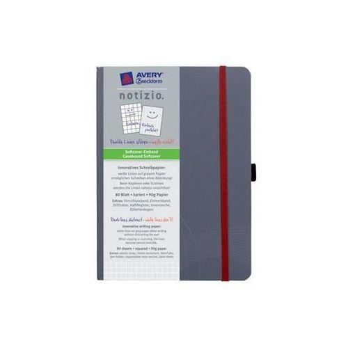 Notatnik NOTIZO A5 w kratkę w plastikowej okładce 80 kartek, szary (4004182470190)