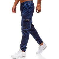 Spodnie jeansowe joggery męskie granatowe Denley Y262, kolor niebieski
