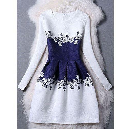 Elegant Long Sleeve Floral Jacquard Skater Dress For Women, kolor biały