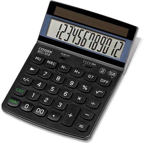 Kalkulator biurowy CITIZEN ECC-310, 12-cyfrowy, 173x107mm, czarny, CI-ECC310