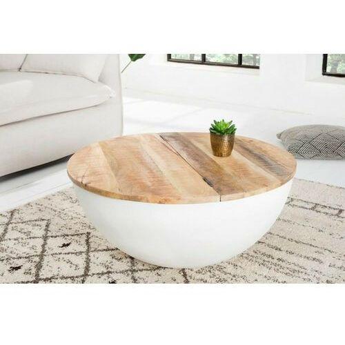 Sofa.pl Invicta stolik kawowy industrial storage - 70cm, mango, biały, aluminium