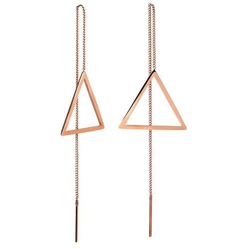 długie kolczyki z brązu z trójkątów marki Troli