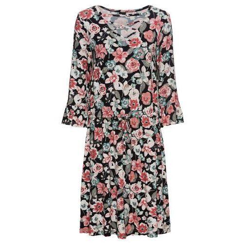 Sukienka szyfonowa bonprix karminowoczerwony, kolor czarny