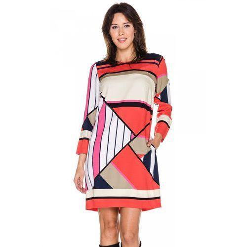 Sukienka w duże, geometryczne wzory -  marki Bialcon