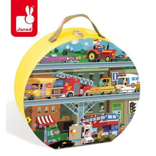 Janod Puzzle w walizce pojazdy 100 elementów,