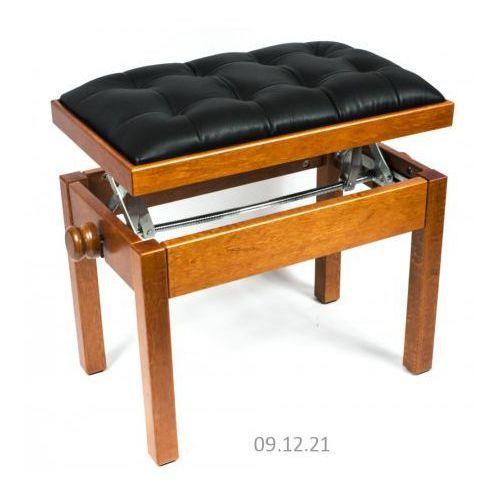 sonata plus ława do pianina, kolor: czereśnia, siedzisko: czarna skóra naturalna - pikowana marki Mstar