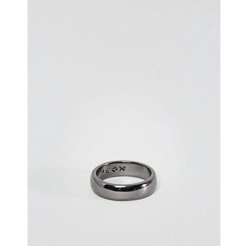 Icon Brand Band Ring In Gunmetal - Silver